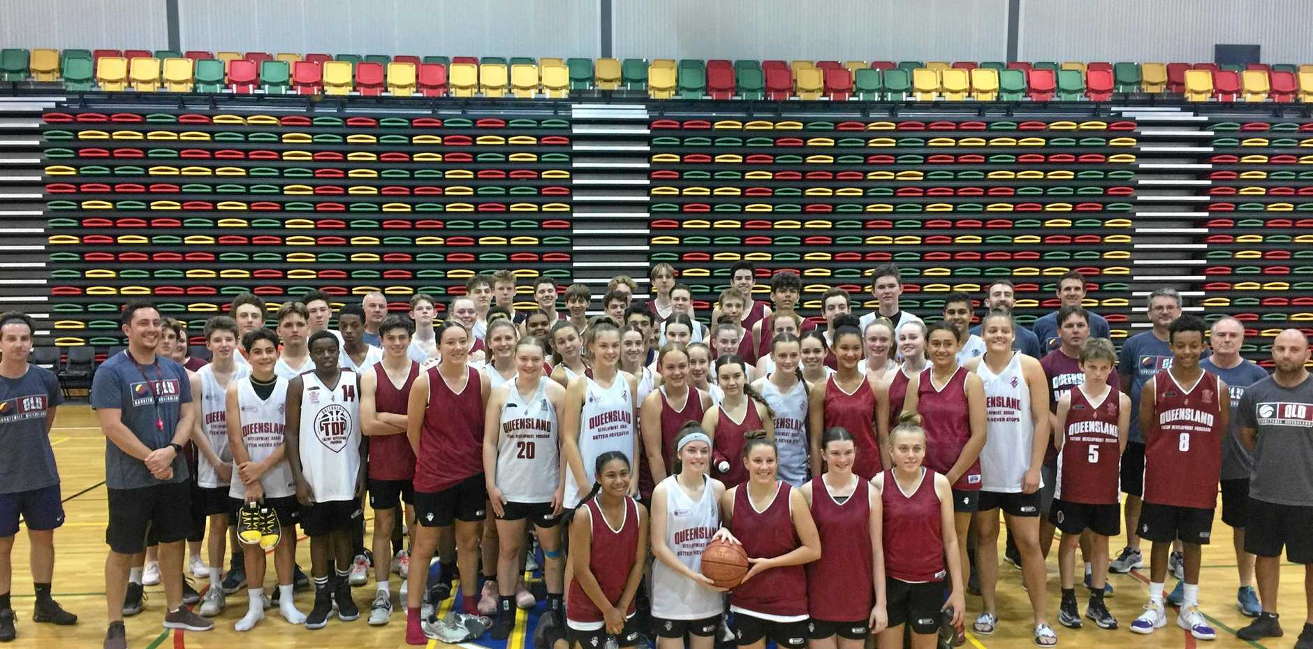 COMBINED EFFORT: Players and coaches pose for a mega-shot after the State Performance Program training for the U16 boys and girls squads.