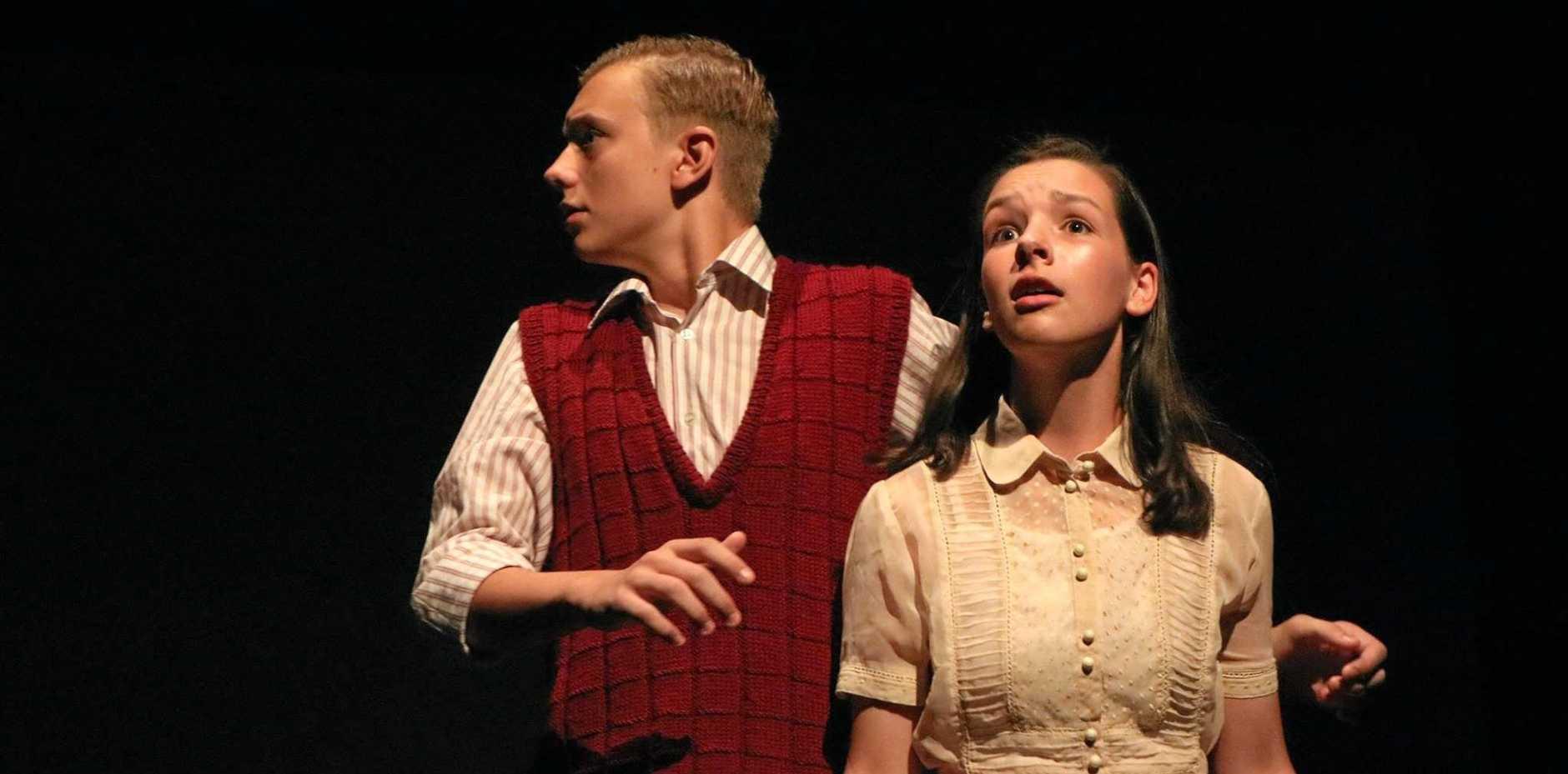 MOVING STORY: Jack de La Haye as Peter Van Daan and Amber Taylor as Anne Frank in The Diary of Anne Frank.