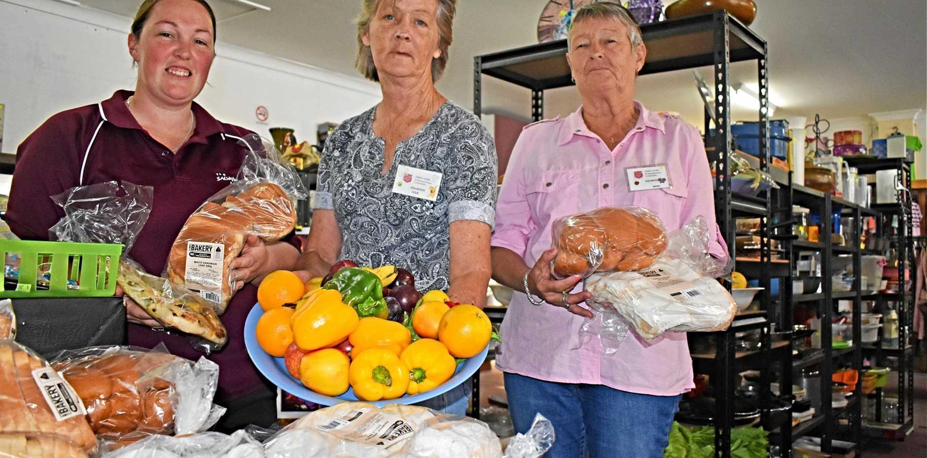 HELP YOURSELF: Stanthorpe Salvation Army volunteers Cat Barker, Julie Volkman and Janet Jordan.