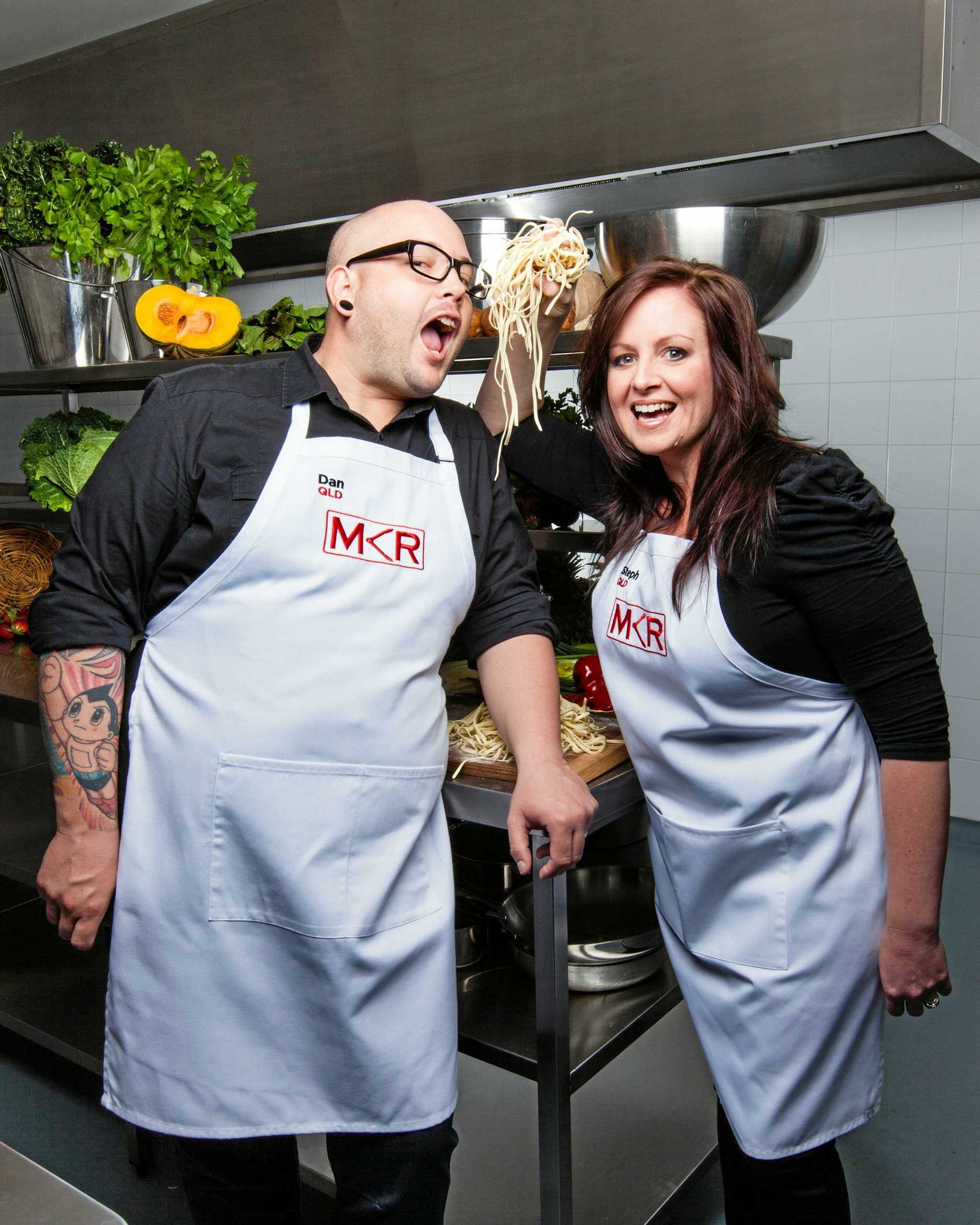 LOWDOWN: Dan and Steph on set for  My Kitchen Rules  season four.