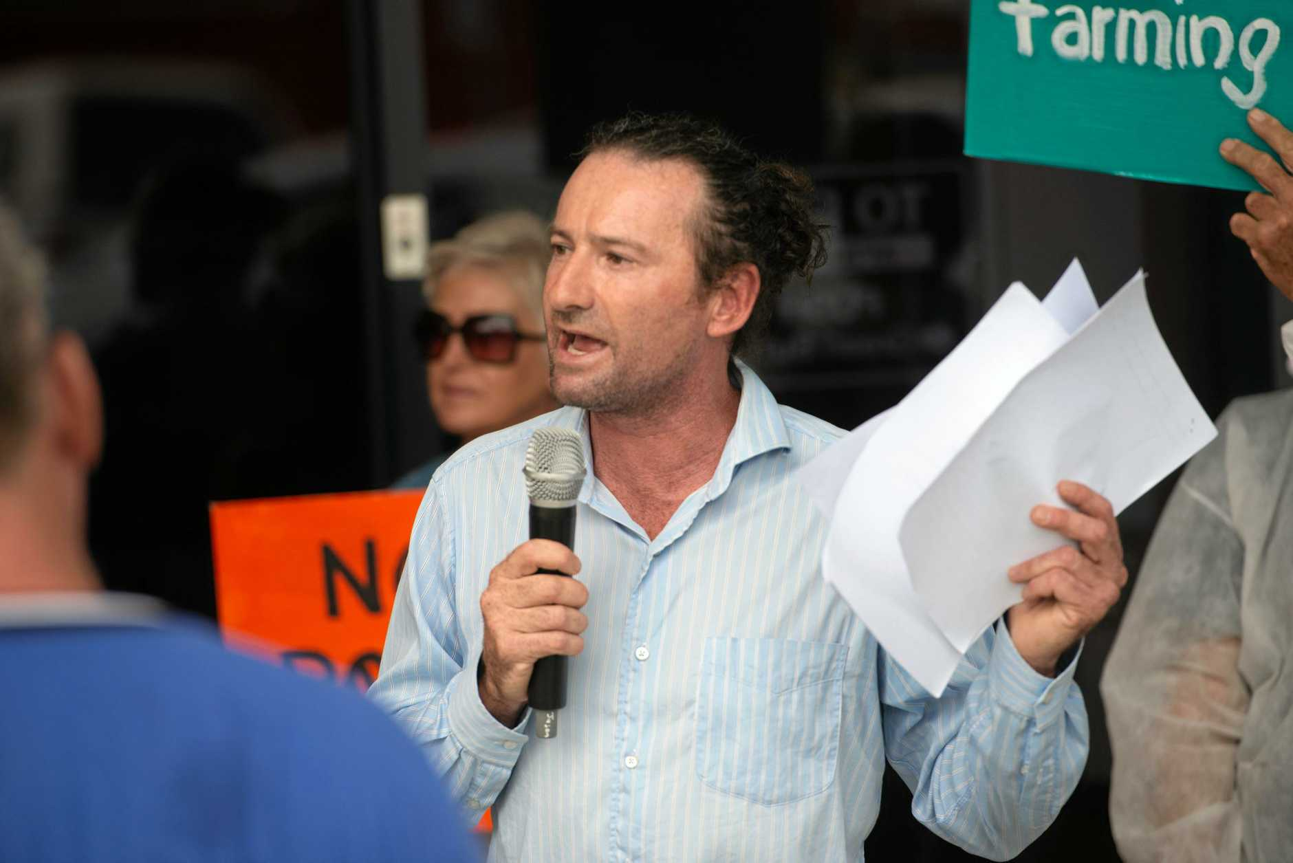 CALLING FOR ACTION: Mark Graham speaks at the rally.