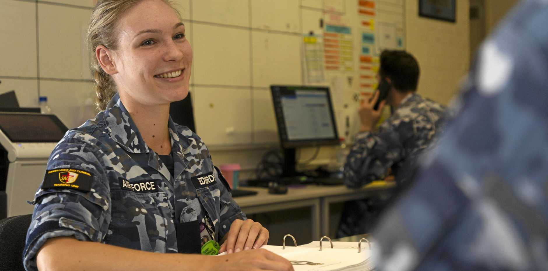 EXPERT: RAAF Flying Officer Madeline Edwards in the Task Unit Headquarters during Exercise Diamond Seas 19.