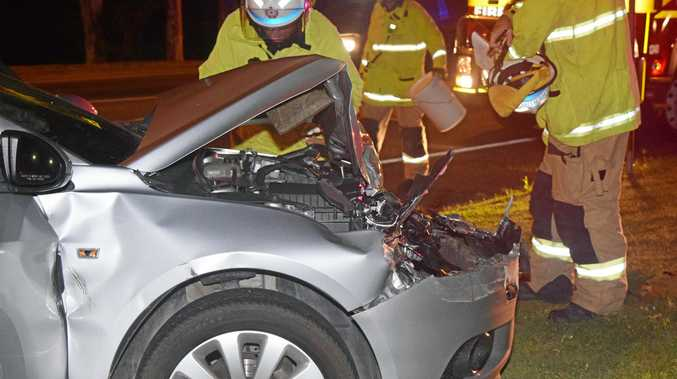 A car involved in a two vehicle collision on Shute Harbour Rd in Cannonvale tonight.