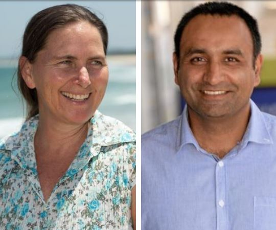 LET THE BATTLE BEGIN: Independent candidate for Coffs Harbour Sally Townley and Nationals candidate Gurmesh Singh.