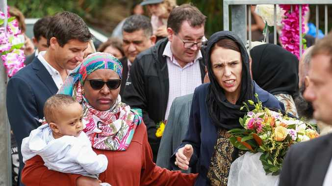 Prime Minister Jacinda Ardern arrives at the Kilbirnie Mosque in New Zealand on March 17. Picture: Hagen Hopkins/Getty