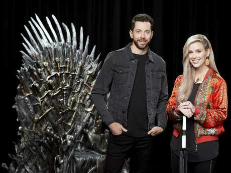 Foxtel's Thones360 presented by James Mathison and Stephanie Bendixsen. Picture: Nick Wilson