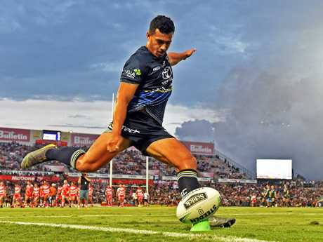 Cowboys fullback Jordan Kahu practises kicking for goal before the opening round clash with the Dragons. Picture: Zak Simmonds