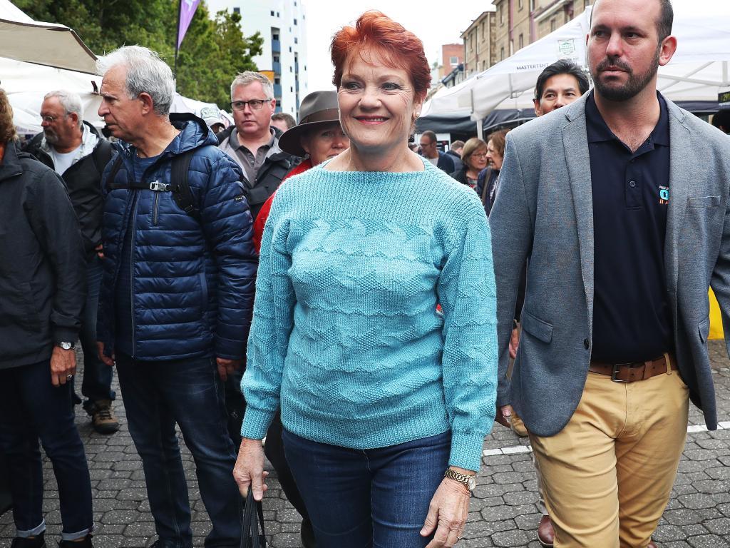Pauline Hanson with One Nation senate candidate for Tasmania Matthew Stephen. Picture: Nikki Davis-Jones