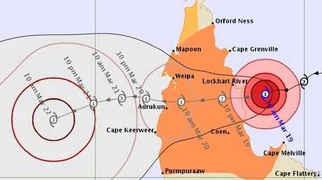Forecast track map for Cyclone Trevor, issued by the Bureau of Meteorology at 11.08am on March 19.