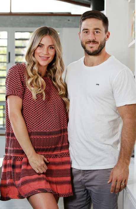 Bridget Hunt, pictured with Dragons husband Ben, said it can be difficult being married to a NRL player. Picture: Jonathan Ng