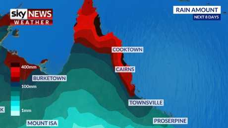 Tropical Cyclone Trevor will bring heavy rain to the state's north. Picture: Sky News Weather