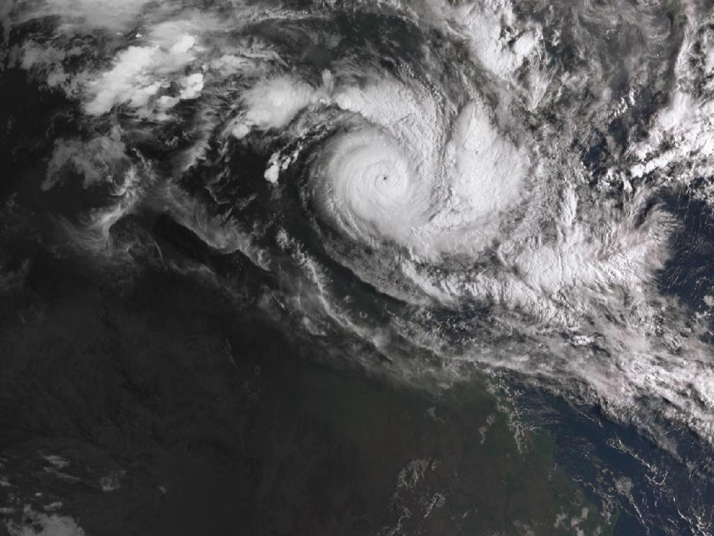 A satellite image acquired from the Australian Bureau of Meteorology showing Cyclone Trevor approaching northern Queensland Picture: AAP Image/Bureau of Meteorology