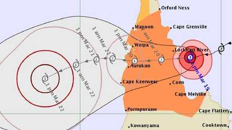 Forecast track map for Cyclone Trevor, issued by Bureau of Meteorology at 2pm on March 19.
