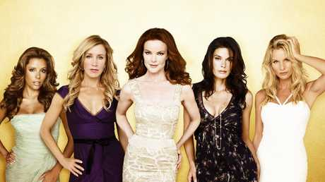 Huffman, second from left, and Sheridan, far right, with the rest of the Desperate Housewives cast. Picture: ABC/ANDREW ECCLES