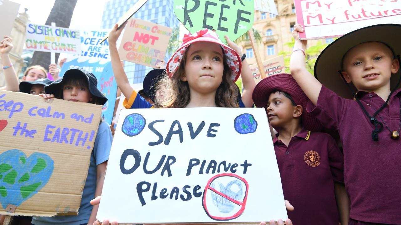 School students took part #ClimateStrike rallies last week to demand action on climate change. The majority of Australians now view global warming as a serious problem. Picture: AAP/Dan Peled