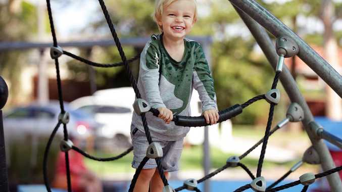 Children such as Leo Bauer, 2, pictured playing in Caringbah South, benefit from play-based education.  Picture: Jonathan Ng