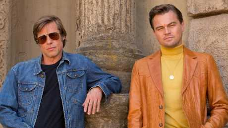 Leonardo DiCaprio's chin was reduced in photoshop for the official 'Once Upon a Time in Hollywood' promo shots. Picture: Sony