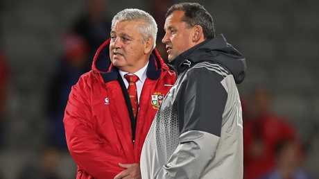 Former Waikato teammates Warren Gatland and Ian Foster chat during the 2017 Lions tour.