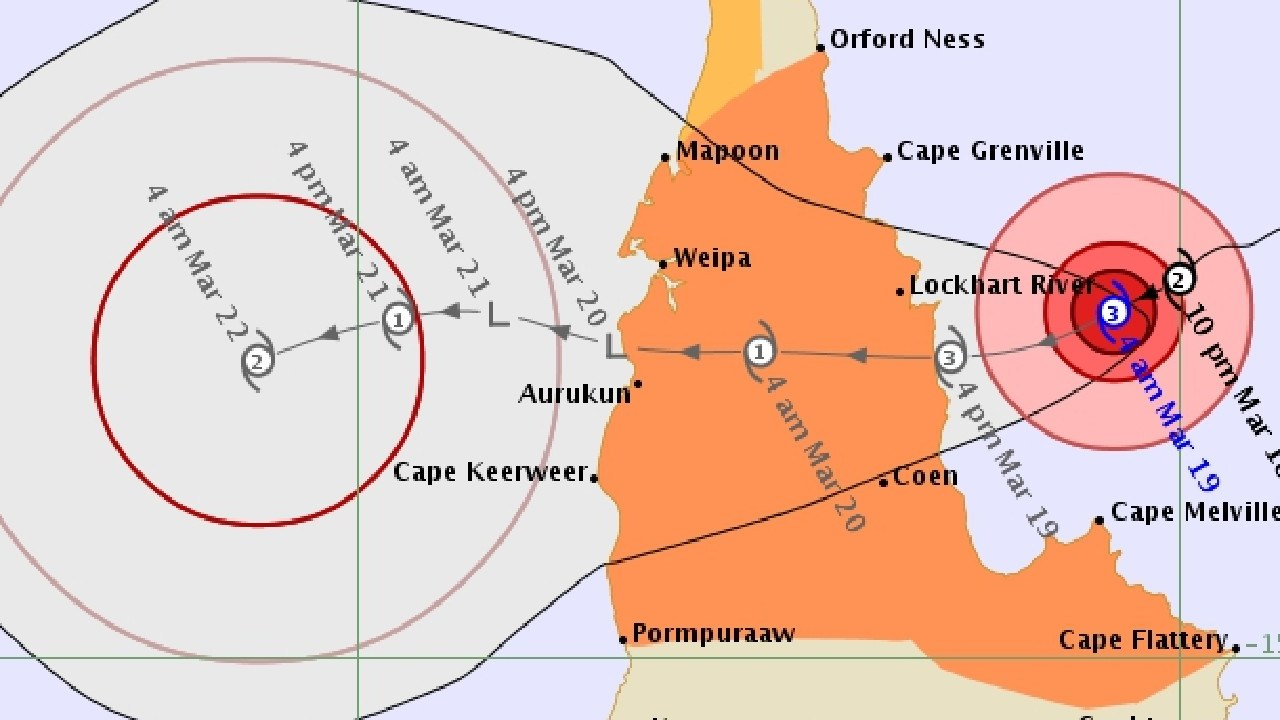 Severe Tropical Cyclone Trevor has intensified to Category 3, expected to make landfall this evening (Tuesday, March 19, 2019). PICTURE: Bureau of Meteorology