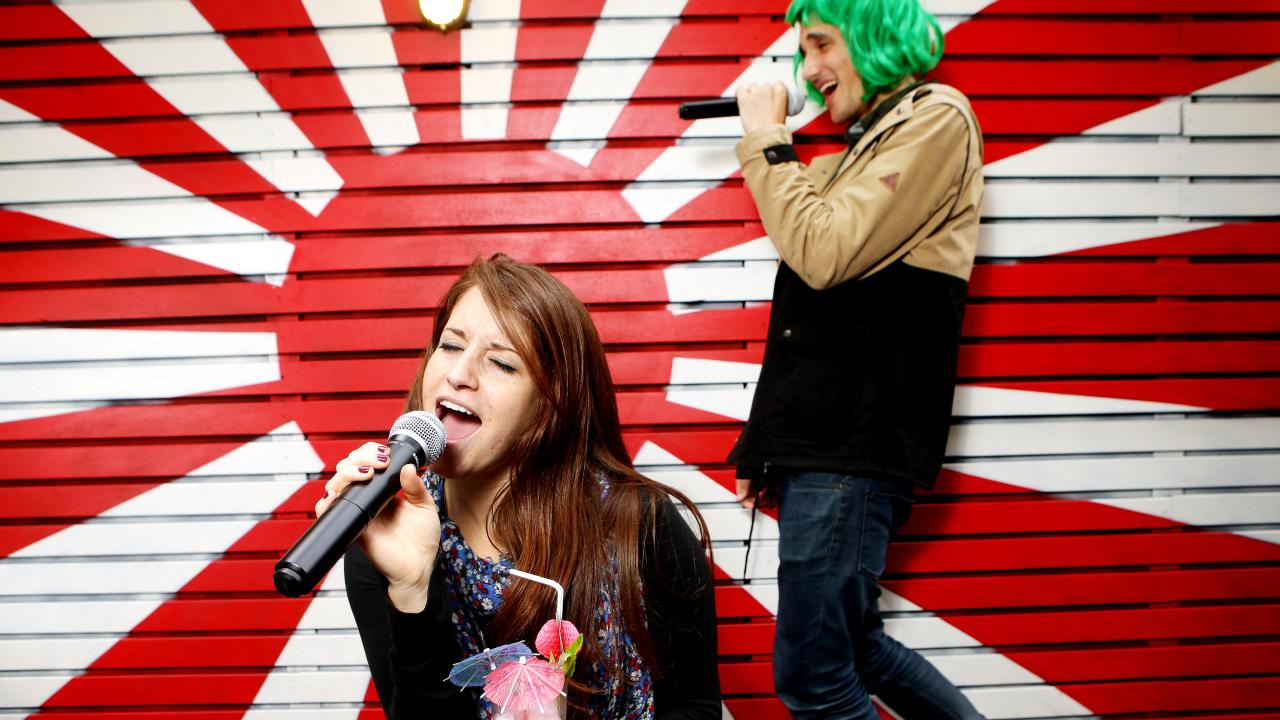 Goros bar is less booze barn more karaoke bar. Picture: Stephen Cooper