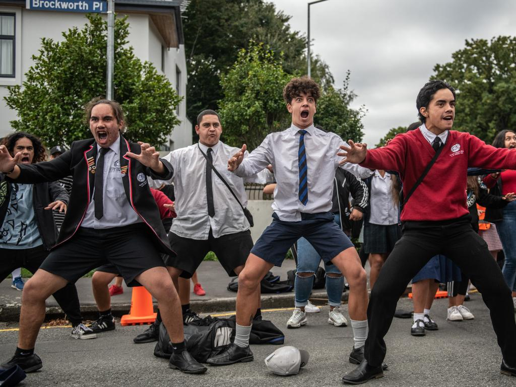 Teenagers  perform a Haka during a studentsvigil near the Al Noor mosque. Picture: Getty