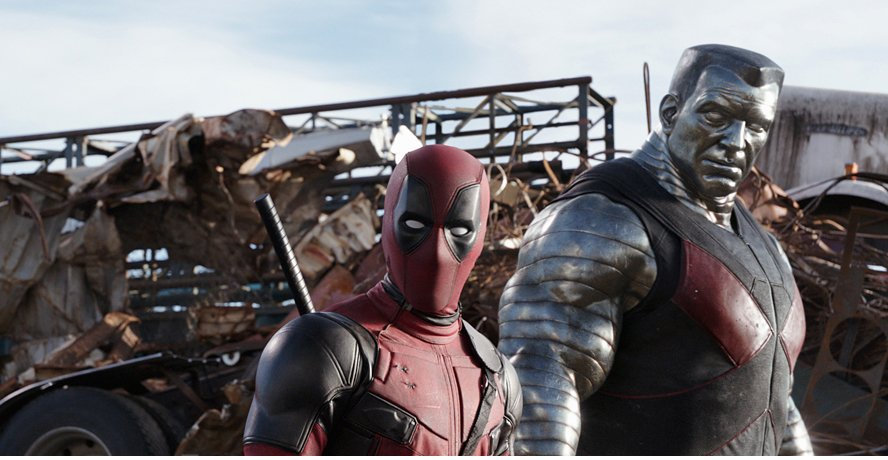 Ryan Reynolds and Stefan Kapicic (as Colossus) in a scene from the movie Deadpool.