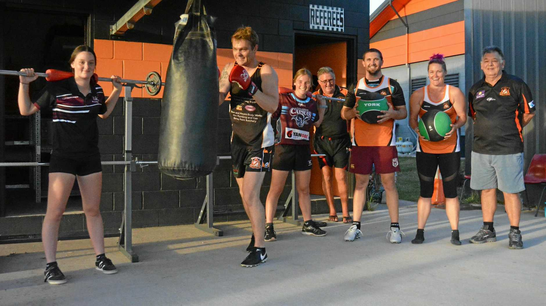 WALLABY WORKOUT: From left is Mia Pengelly, Justin Fawkes on the bag, Sophie Davidson, Terry Hamilton, Matt Baker, Chelsea Baker and Ian Retchford.