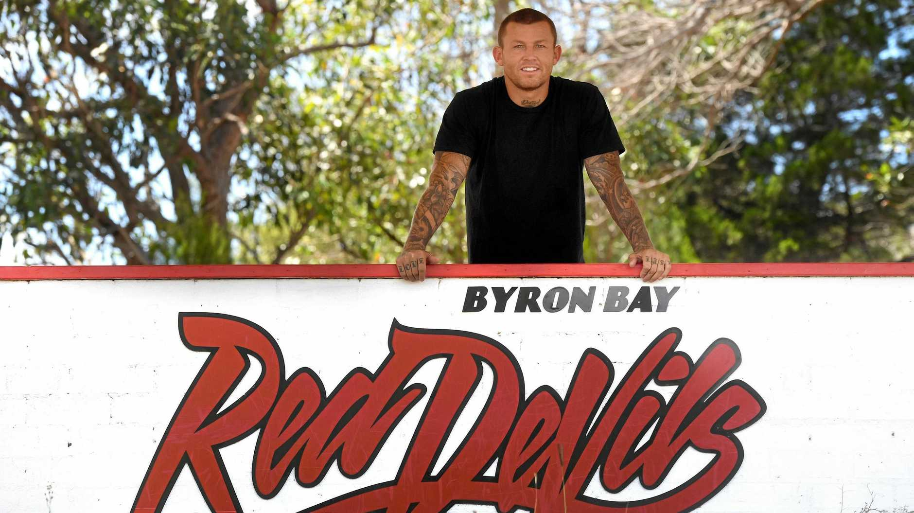 Todd Carney in Byron Bay after taking up a coaching role with the Red Devils.