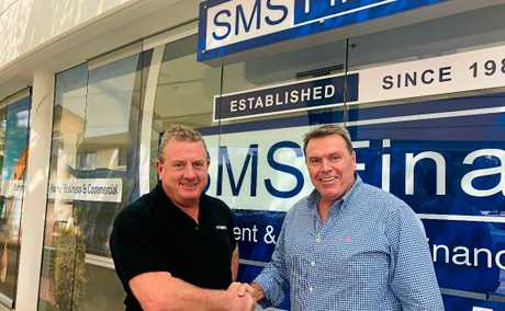 NEW GIG: Brenden Brial, right, has come on board as a director of SMS Finance in Maroochydore. He was the former boss of the Mooloolaba Bank of Queensland.