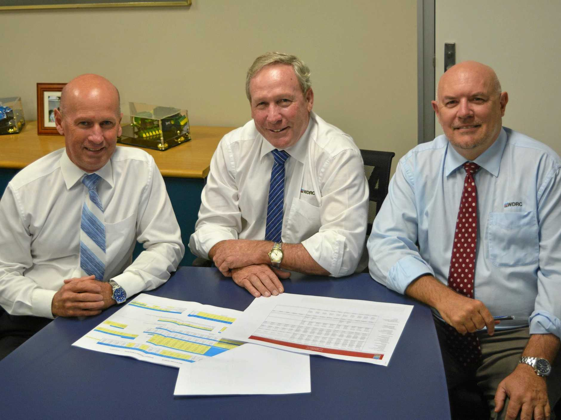 DEBT FREE: Councillor Ian Rasmussen, Mayor Paul McVeigh and CEO Ross Musgrove have worked hard to relieve the council of their debt.
