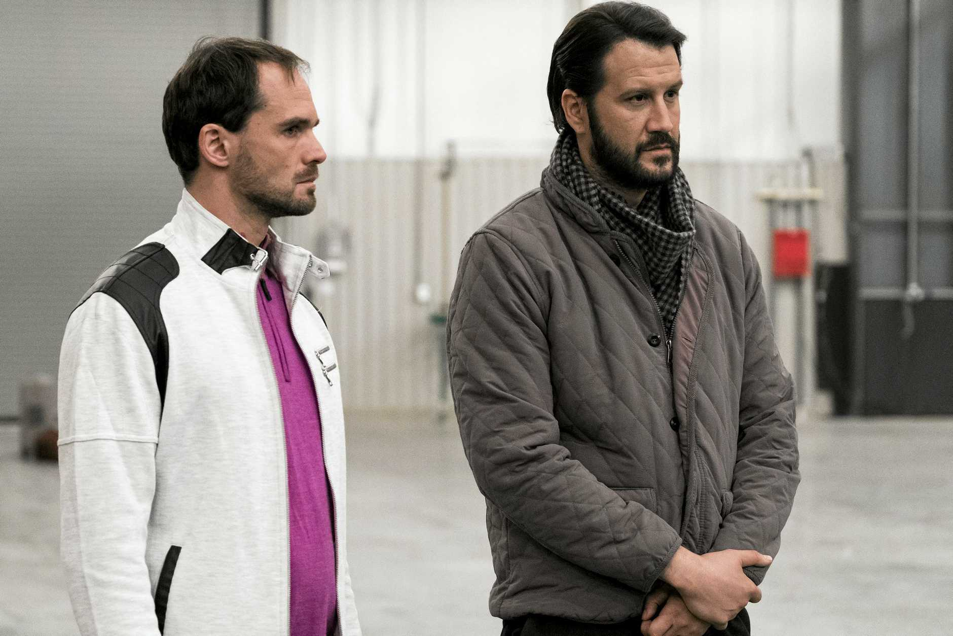 Stefan Kapicic, right, in a scene from season four of the TV series Better Call Saul.
