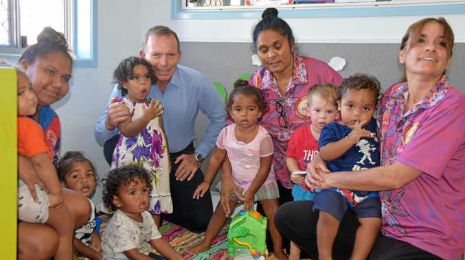 FULL HOUSE: Tony Abbott is joined by the Gundoo kids and team members Lesleigh Fisher, Aunty Jacqui Tapau and Malele Woods.