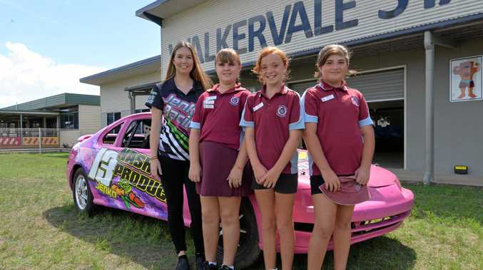 READY, SET, GO: Speedway racer Rachael Jenkins with Walkervale State School students Zanthe Martin, Ameilia Petersen and Mystique Brix. She will compete in the National Fours state title, which is on this weekend at Carina Speedway.