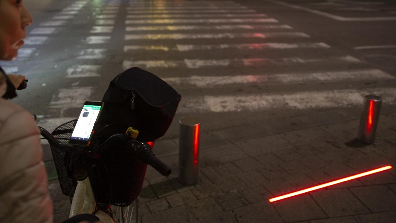 LED stoplights at a crosswalk in Tel Aviv, Israel. (AP Photo/Sebastian Scheiner)
