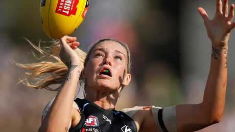 Tayla Harris has been quick to condemn the comments the photo of her simply doing her job well received. Picture: Michael Willson/AFL Media