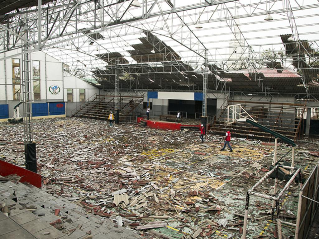 In this photo taken on Friday, March 15, 2019 and provided by the International Red Cross, a damaged sports arena is seen after Tropical Cyclone Idai, in Beira, Mozambique. Picture: Denis Onyodi/IFRC/AP