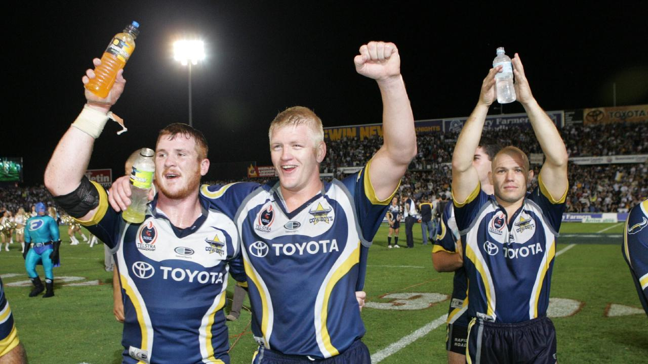Steve Southern, Mitchell Sargent and Leigh McWilliams leave the field victorious in 2004.