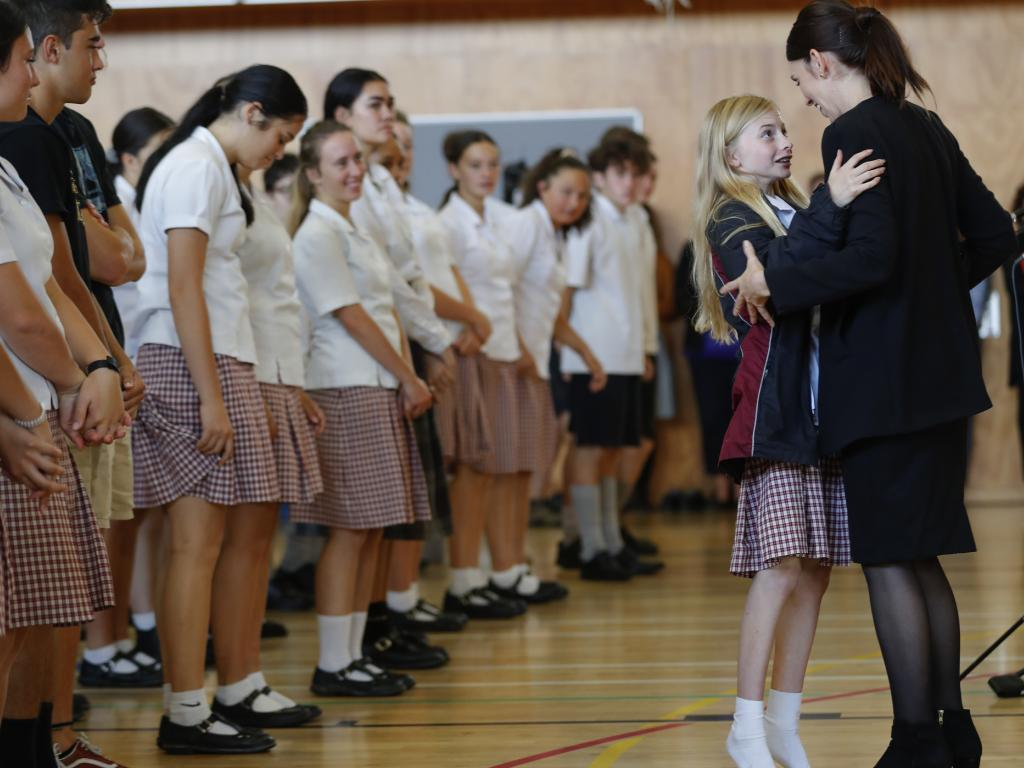 New Zealand's Prime Minister Jacinda Ardern met with students at a high school visit in Christchurch today. Picture: Vincent Thian/AP