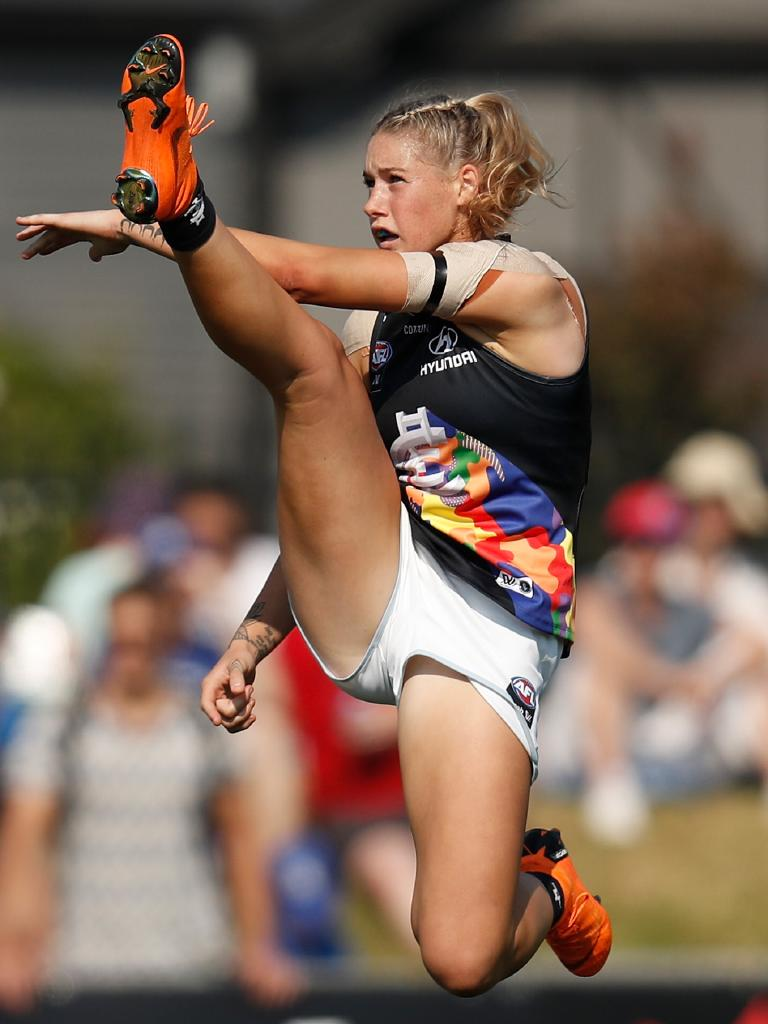 7 Sport deleted this photo of AFLW star Tayla Harris after it attracted abusive comments. Picture: Michael Willson/AFL Media