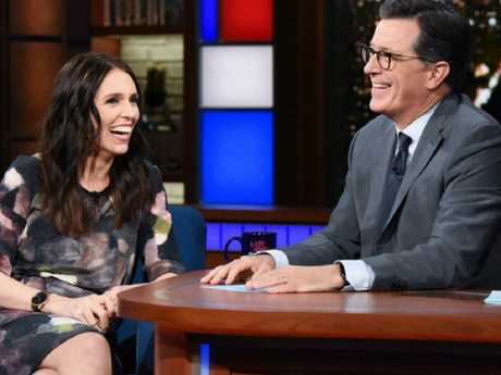 Stephen Colbert, with Jacinda Ardern, has cancelled his trip to New Zealand in the wake of the Christchurch attacks. Picture: CBS