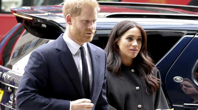 Prince Harry, and his wife Meghan arrive at New Zealand House in London where they paid their respects to the victims of the terror attack in Christchurch. Picture: AP