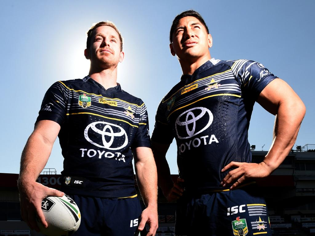 Cowboys media day pre Grand Final clash against Melbourne Storm on Saturday night. Michael Morgan and Jason Taumalolo. Photo Scott Radford-Chisholm