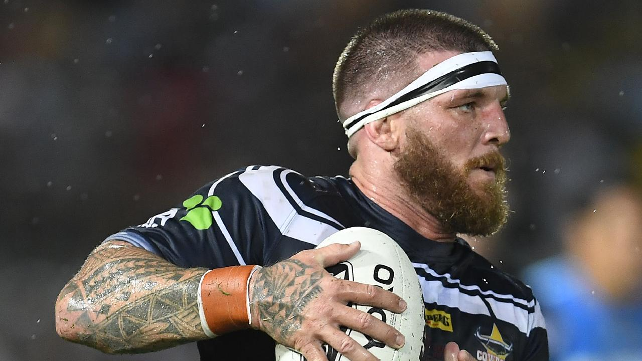 Josh McGuire runs the ball for the Cowboys in the round one clash against St George Illawarra. Picture: Getty Images