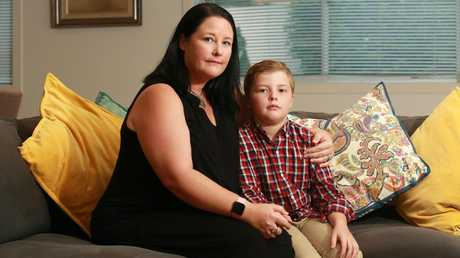 Katie Meredith and her son, John. Picture: AAP/Sarah Marshall