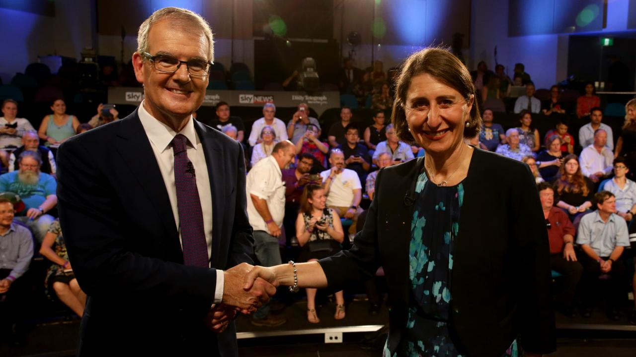 Premier Gladys Berejiklian and Leader of the Opposition Michael Daley shaking hands after the People's Forum held at the Western Sydney University Kingswood campus. Picture: Jonathan Ng