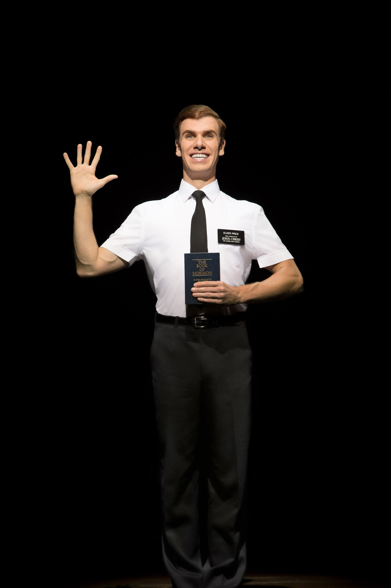 HELLO: Blake Bowden stars as Elder Price in the musical comedy The Book of Mormon, currently playing QPAC's Lyric Theatre.