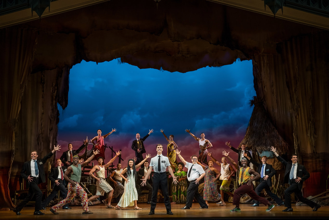 Blake Bowden, Nyk Bielak, Tigist Strode and company of the musical comedy The Book of Mormon.