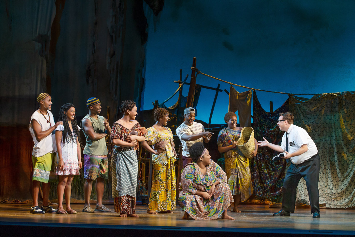 Nyk Bielak and company of the musical comedy The Book of Mormon.