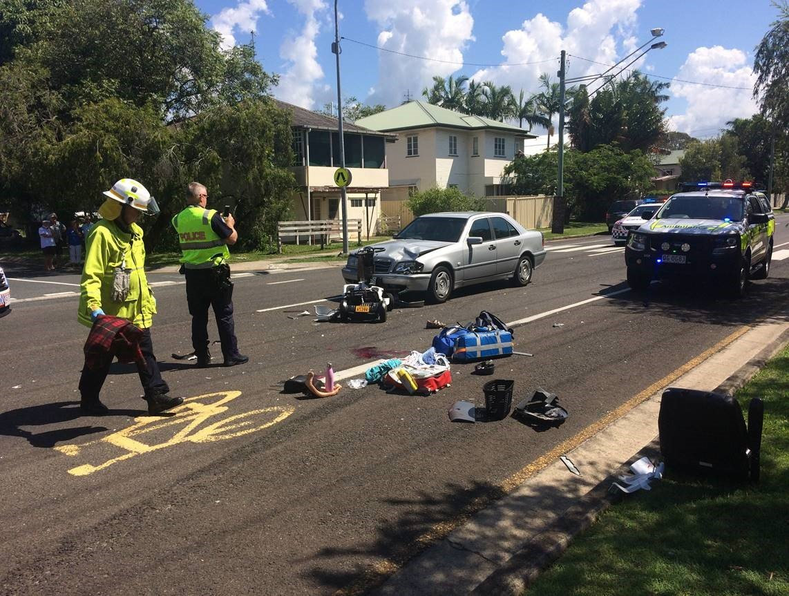 The elderly woman is in a critical condition after she was hit by a Mercedes at Tewantin this afternoon.