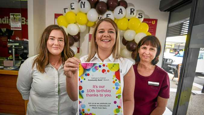 PARTY PLANS: Bendigo Bank Calliope will celebrate its 10th birthday this weekend. Celebrating will be Jo Lumley (front), Zoey Chapman and Tania Vaiente.